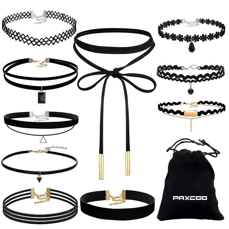 B01KHV6LV8 - Black Velvet Choker Necklaces