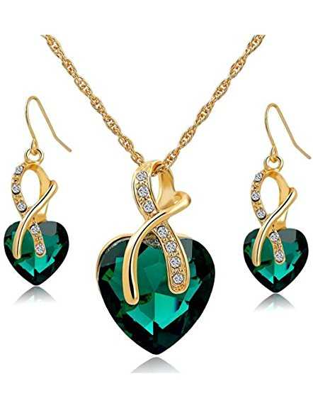B01K7QLOHY - Gold Plated Heart Necklace Earrings