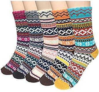 B0736NM875 - 5 Pairs Winter Wool Socks