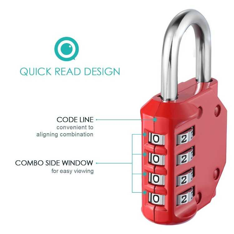 B071PBMR3Z - 4 Digit Combination Padlock