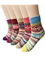 B077T3CVX4 - Womens 5 Pairs Winter Vintage Socks