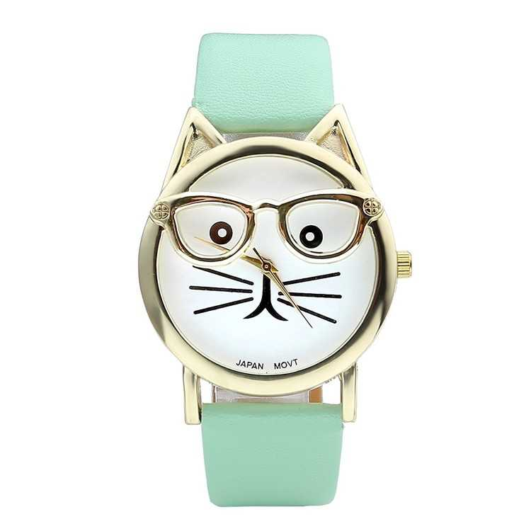 B014CHZJRU - Women's Platinum Plated Cat Watch