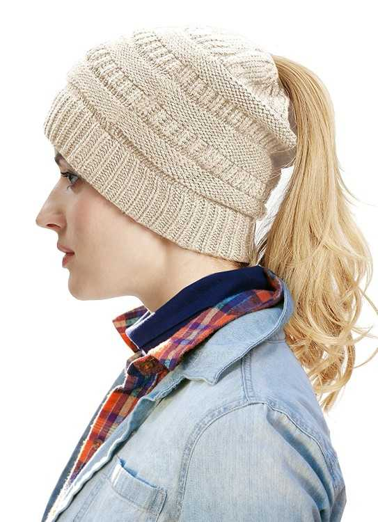 B0776F23Q2 - Ponytail Winter Women Beanie Hat