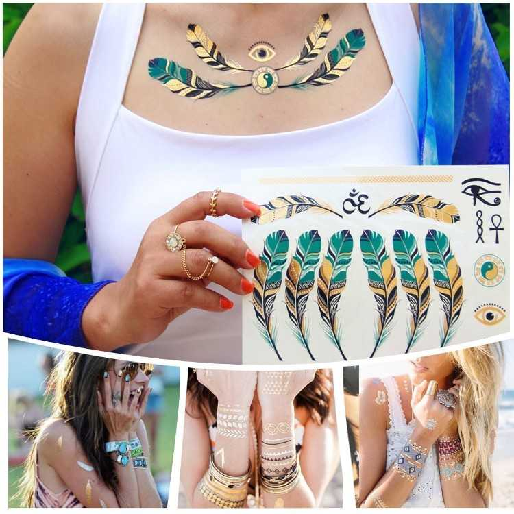B072JC1JV2 - Metallic Temporary Tattoos